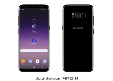 New York, USA - November 05, 2017: Brand new black Samsung Galaxy S8 plus front and back side isolate on  white background with clipping path.