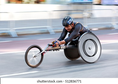 New York USA - November 06, 2016: Racing in a wheelchair during the New York Marathon on November 06, 2016. One of the participants.