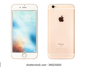 New York, USA - November 08, 2015:Front and back view of white and Rose Gold iPhone 6s isolated on white