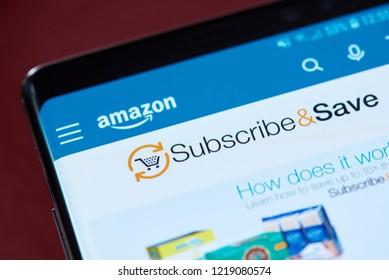 New york, USA - November 1, 2018: Amazon subscribe and save menu on smartphone screen close up view