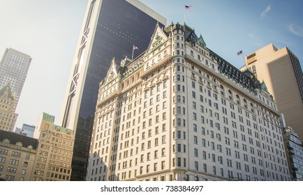 New York, USA, november 1, 2016: facade of the famous Hotel Plaza in New York