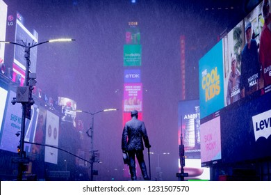 New York, New York, USA - November 15 2018: First snow in New York - Times Square