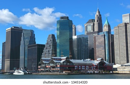 NEW YORK, USA  - NOVEMBER 15: The pier 17 is favourite vacation place with the old ships and museums on November 15, 2012 in Manhattan, New York.