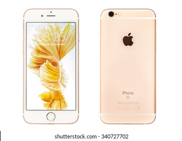 New York, USA - November 17, 2015: Front and back view of a Rose Gold  color iPhone 6S showing the home screen with iOS9. Isolated on white.