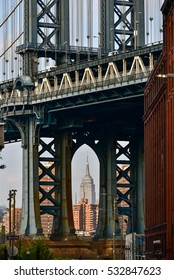New York, USA - November 17, 2016 : Manhattan Bridge view from Dumbo, Yew York City.  New York City is the most populous city in the United States of America.
