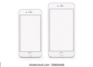 New York, USA - November 19, 2015: Front view of a Rose Gold color iPhone 6s and iPhone 6s Plus with blank screen  isolated on white.