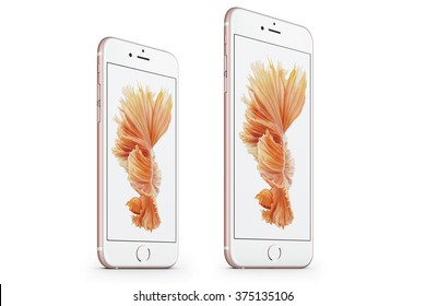 New York, USA - November 19, 2015: Front view of a Rose Gold color iPhone 6s and iPhone 6s Plus with iOS9 isolated on white.