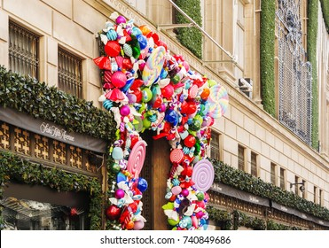New York, USA, november 1st, 2016: Saks Fifth Avenue luxury department store Holidays decoration titled `Land of 1000 Delights` in Manhattan