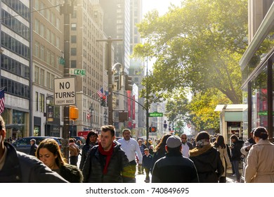 New York, USA, november 1st, 2016: crowd of people walking along the famous fifth avenue in Manhattan, New York