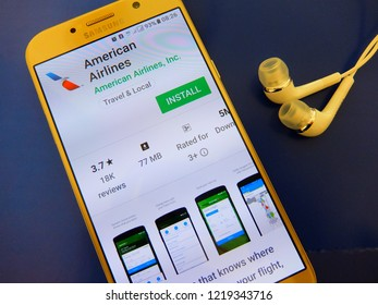 New York, U.S.A. November 2, 2018 - american airlines application on smartphone screen. have your flight check-in with american airlines mobile app.