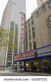 New York, USA, november 2, 2016: exterior of the historical Radio City Music Hall in New York