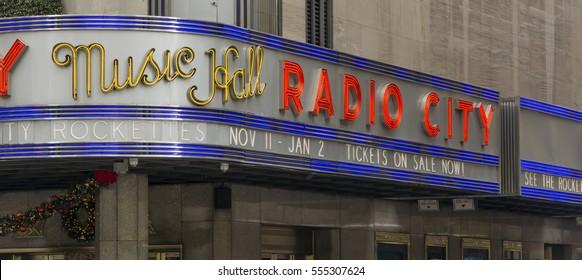 New York, USA, november 2, 2016: exterior of the historical Radio City Music Hall in New York