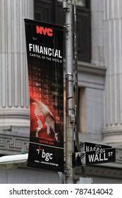 New York, USA - November 20, 2010: Wall street direction sign