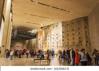 New York, USA, november 2016: New York, USA, november 2016: people visiting the National 9-11 Memorial Museum