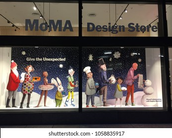 New York, USA - November 2016. The showcase of MOMA design store