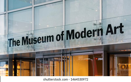 New York, USA, November 2016: Main entrance with glass doors of the MoMA (Museum of Modern art) In Manhattan, New York