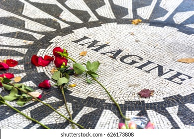 New York, USA, november 2016: Strawberry Fields is a section in New York City's Central Park dedicated to the memory of John Lennon. It has been opened on october 9, 1985 on Lennon's 45th birthday