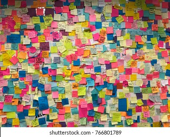 New York USA November 2016: Post-It Note wall at Union Square Station
