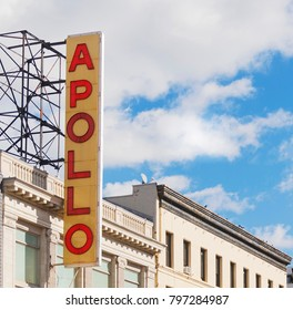 New York, USA, november 2016: the famous Apollo Theater vertical sign in Harlem, New York