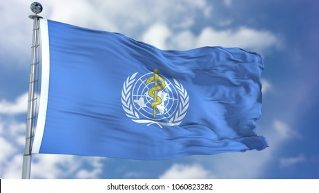New York, USA - November 2017: World Health Organization (WHO) flag waving against clear blue sky, close up, isolated with clipping path mask luma channel, perfect for film, news, composition