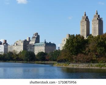New York, USA / USA - November 2019: Skyscrapers near Central Park in New York