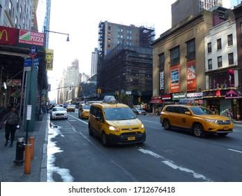 New York, USA / USA - November 2019: Street and buildings in New York