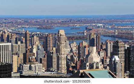 New York, USA - November 21, 2010: Aerial view of skyscapers in New York city