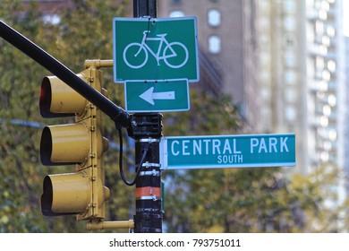 New York, USA - November 21, 2010: Central Park sign in Manhattan