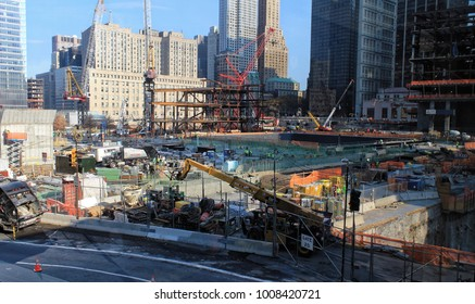 New York, USA - November 22, 2010: The World Trade Center site being cleaned up and reconstructed some years after the terrorist attack of 2001 in New York city