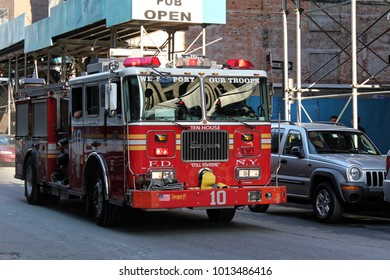 New York, USA - November 22, 2010: Fireman truck number 10 in New York city
