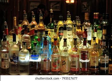 New York, USA - November 22, 2010: Various alcohol bottles in the bar.
