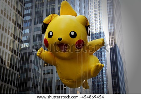 New York, USA - November 22, 2012: 86th annual Macys Thanksgiving Day Parade in New York City on November 22, 2012. Pokemon Pikachu balloon at Macys` Thanksgiving Day parade.