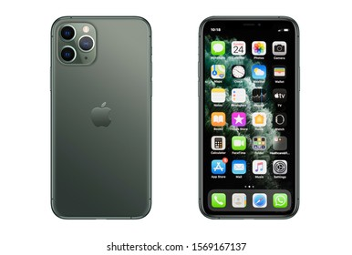 New York, USA- November 24, 2019: Front and back view of new  iPhone 11 Pro Green smartphone.