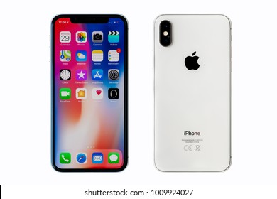 New York, USA - November 27, 2017: Brand new white Apple iPhone X  front and back side isolate on white background with clipping path.