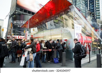 New York, New York, USA - November 3, 2011: People waiting on lines to get reduced price day-of-performance tickets to musicals and plays at the TKTS booth in Times Square in Manhattan.