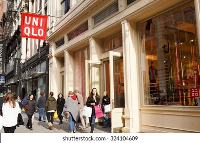 New York, New York, USA - November 3, 2011: The Uniqlo store in the Soho area of Manhattan. Uniqlo is a Japanese maker of mostly casual clothing. They have many outlets throughout the world.