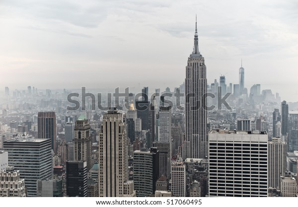 NEW YORK, USA - NOVEMBER 30, 2016: View of New York. Famous skyscrapers in a cloudy day.