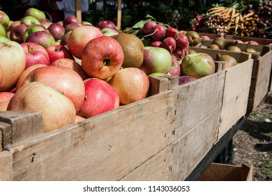New York / USA - November 5 2017: View of apples and vegetables in the market