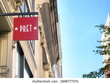 New York, New York, USA - November 5, 2020: A PRET sign in Manhattan. Pret a manger is a well known food outlet.