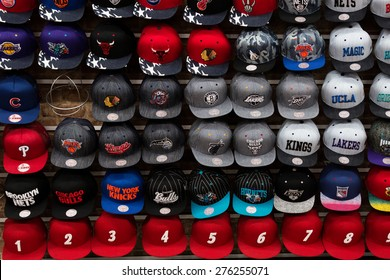 New York, USA - November 9, 2014. Team sport caps in one of the store on the Brodway St.