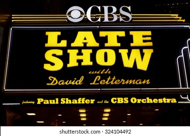 New York, New York, USA - November 9, 2011: The marquee of The Ed Sullivan Theater which is the current home of The Late Show with David Letterman. The Ed Sullivan Theater has a long history.