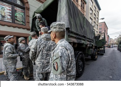 New York, USA - November Circa 2012: New York after Sandy the hurricane.National Guard helps people on the street.