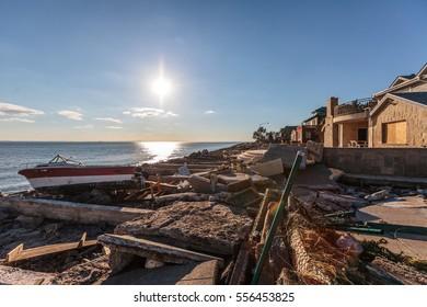 New York, USA - November Circa 2012: New York after Sandy the hurricane. Damaged property and belongings of Manhattan beach residents.