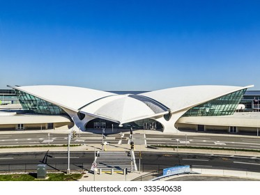 NEW YORK- USA, OCT 20,, 2015: Areal view of the historic TWA Flight Center and JetBlue Terminal 5 at John F Kennedy International Airport in New York ..