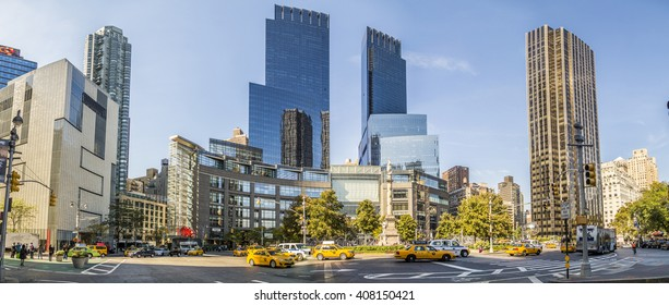 NEW YORK, USA - OCT 21, 2015: streetview at columbus square seen from Cental Park, New York. Columbus Square consists of five luxury rental buildings located in the Upper West Side of Manhattan.