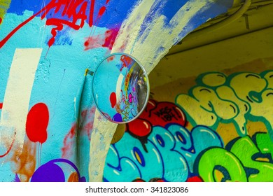 New York, USA - OCT 22, 2015: mural paintings at wall of metro station in 191st Street, New York, USA. Some of the old tunnels are legally open for artists for their mural paintings.