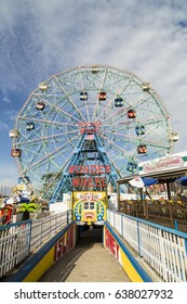New York, USA - OCT 25, 2015: Wonder Wheel is a hundred and fifty foot eccentric wheel built in 1920 in Luna Park Coney Island.