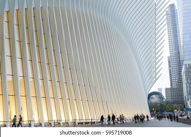 NEW YORK, USA - OCT 3: The Oculus, or World Trade Center Transportation Hub in New York, USA on Oct 3, 2016.