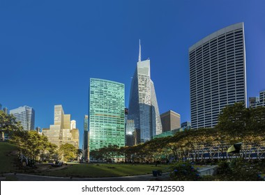 NEW YORK, USA  OCT 5, 2017:  scenic view from Briant Park to the skyline of New York with famous skyscraper.