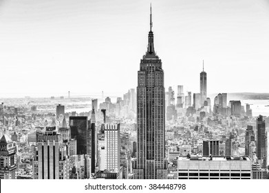 NEW YORK, USA - OCT 6, 2015: Empire State Building from the Rockfeller Center (Top of the Rock). One of the popular observation points of New York